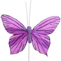 Fjäderfjärilar Lila 8,5 cm 12st