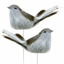 Fjäderfågel på trådgrå 12cm 4st