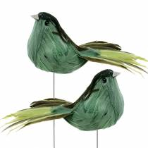 Fjäderfågel på trådgrön 12cm 4st