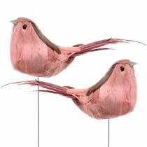 Fjäderfågel på trådrosa 12cm 4st