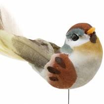 Fågel på tråd 5,5 cm färgad 9st