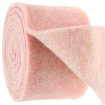 Filtband, grytband tvåfärgad vit / rosa 15 cm 5m