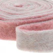 Kruka gångjärn, deco tejp ull filt dusky rosa / grå B4.5cm L5m