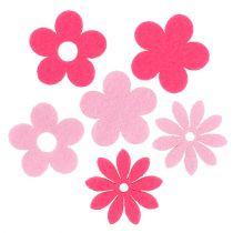 Filt blomma rosa, rosa 3,5 cm 96st