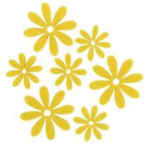 Filtblommor i gul 96st