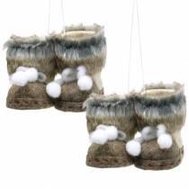 Julgransdekorationer par filtskor med päls 10 cm x 8 cm 2 st
