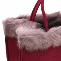 Filtväska med pälskant mörkröd 38 cm x 24 cm x 20 cm