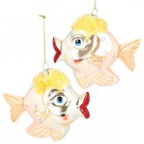 Julgransdekorationer fisk, dekorativa hängen, juldekorationer, äkta glas H9,5cm 2st