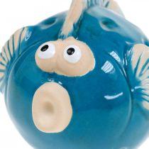 Keramisk fisk, maritim, dekorativ fiskblå L11.5 4st