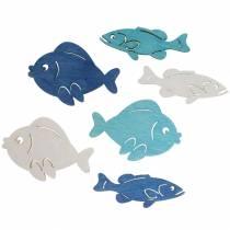 Scatter dekoration fisk trä vit, blå, ljusblå 4cm 72p