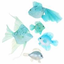 Dekorativ fisk att hänga blå turkosgrön grå 10-22cm 5st
