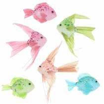 Dekorativ fisk för hängande grön rosa orange blå 13-24cm 6st