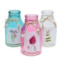 Glasflaskor blandade färger Ø8cm H15cm 3st