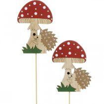 Dekorativ plugg, höstlig trädekoration, igelkott med svamp H11cm L34cm 12st
