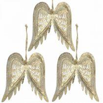 Änglavingar, metalldekoration att hänga, julgransdekorationer gyllene, antikt utseende H11.5cm W11cm 3st