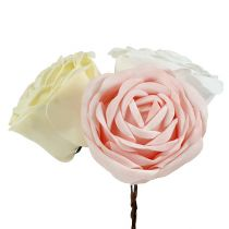 Foamrose Mix Ø10cm rosa, grädde, vit 6st