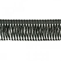Randigt band, kordonettkant, leoniska fransar svart W4cm L25m