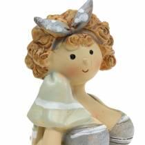 Dekorativ figurdam i baddräktgrå 10 cm 2st