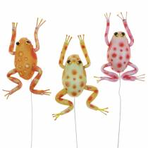 Dekorativa grodor med prickar och tråd 7,5 cm 3 delar sorterade
