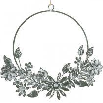 Vårdekoration, dekorationsringblommor, metalldekoration, hängande blomdekoration Ø16cm 2st
