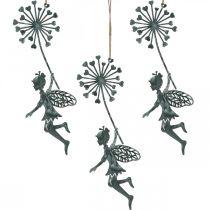 Vårdekoration, älva med maskros, dekorationshänge blomma älva, metall dekoration 3st
