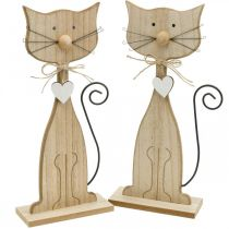 Vårfigur, kattdekoration, träfigur, bordsdekoration, lantgårdsdekoration 2st