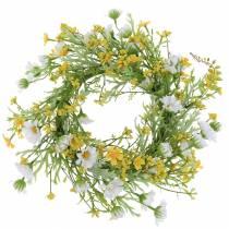 Blomma krans med träanemon vit, gul Ø30cm