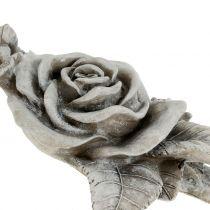 Rose för grav smycken grå 16 cm x 13,5 cm 2 st