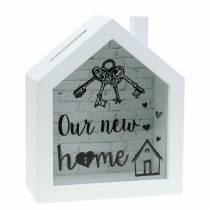 """Economy box """"Our New Home"""" träglas vit 15x7cm H18cm"""