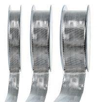 Presentband silver med trådkant 25m