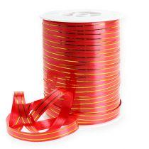 Presentband 2 guldremsor på röd 10 mm 250m