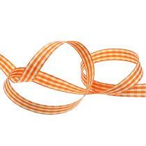 Gåva band rutig orange 15mm 20m