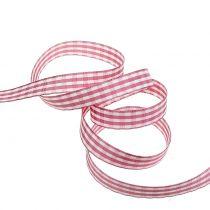Gåva band check rosa 15mm 20m