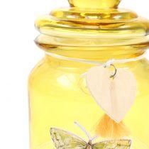 Glasburk bonboniere gul Ø11cm H15,5cm