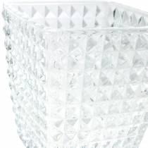 Glaslyktakub facetterat mönster, bordsdekoration, vas av glas, glasdekoration 2st
