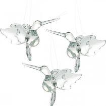 Glasdekorationer av paradiset, dekoration kolibri, glas hänge, fågel dekoration 3st