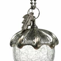 Julgransdekorationer ekollonglas silver antik 11 cm 4st
