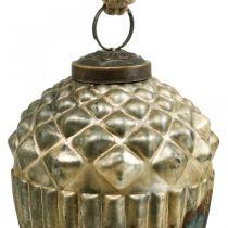 Ekollon att hänga, höstfrukter, trädekorationer, äkta glas, antikt utseende Ø7,5cm H10,5cm 2st