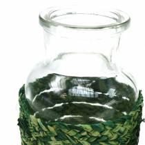 Glasflaska med bastgrön H12.5cm 3st