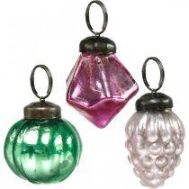 Glaskulablandning, diamant / kula / kon av äkta glas, antikt utseende Ø3–3,5cm H4,5–5,5cm 9st
