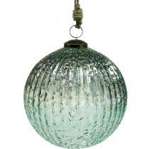 Glaskula för att hänga blå vintage juldekorationsglas Ø15cm