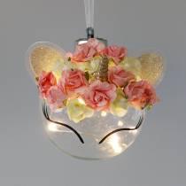 Julkula enhörning med LED-ljuskedja och blommor gult, rött, transparent glas, pappersrosor Ø8cm För batterier