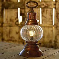 LED stormlykta, metallampa, dekorativ lampa, vintage look Ø12,5cm H30cm