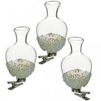 Glasvas med klippglitter och pärlor Ø4.9cm H9.5cm klar 3st
