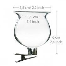 Glasvasklocka med klämma klar Ø5,5cm H6cm 4st