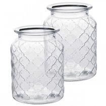 Glasvas diamantmönster, lykta, dekorativ glasburk, bordsdekoration 2st