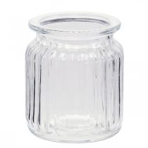 Vas med ribbad glas Ø7,5cm H9cm