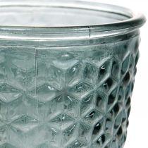 Lykta med fot, koppglas, dekorationsglas grå Ø10cm H18,5cm