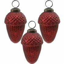 Träddekorationer kottar rött äkta glas 9cm 3st