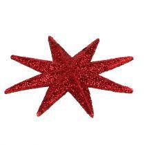 Glitter stjärnröd Ø10cm 12st